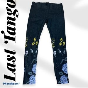 LAST TANGO embroidered flower jeggings